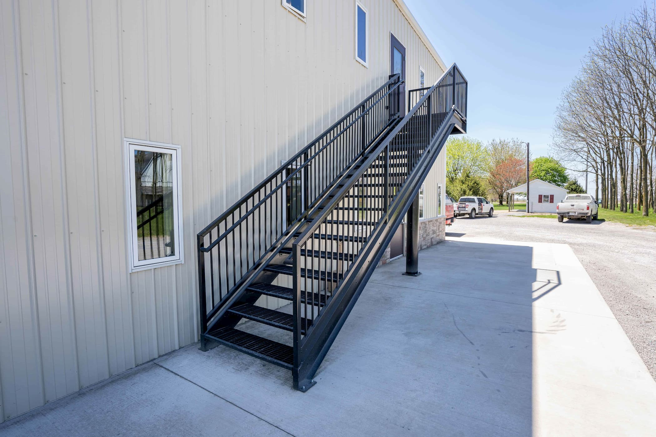 Commercial Black Stair with Top Landing