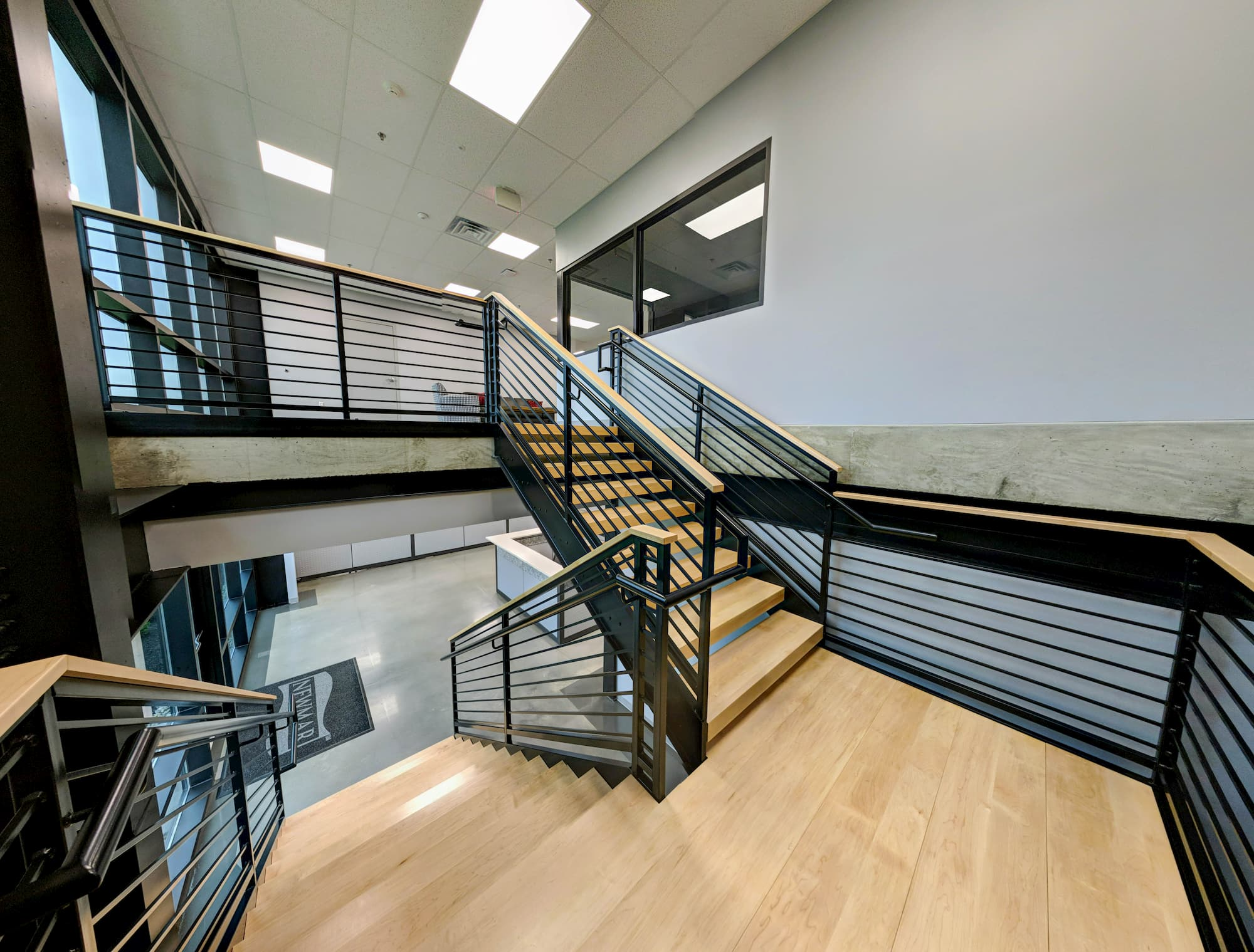 Commercial Switchback Stair with Inner Handrail