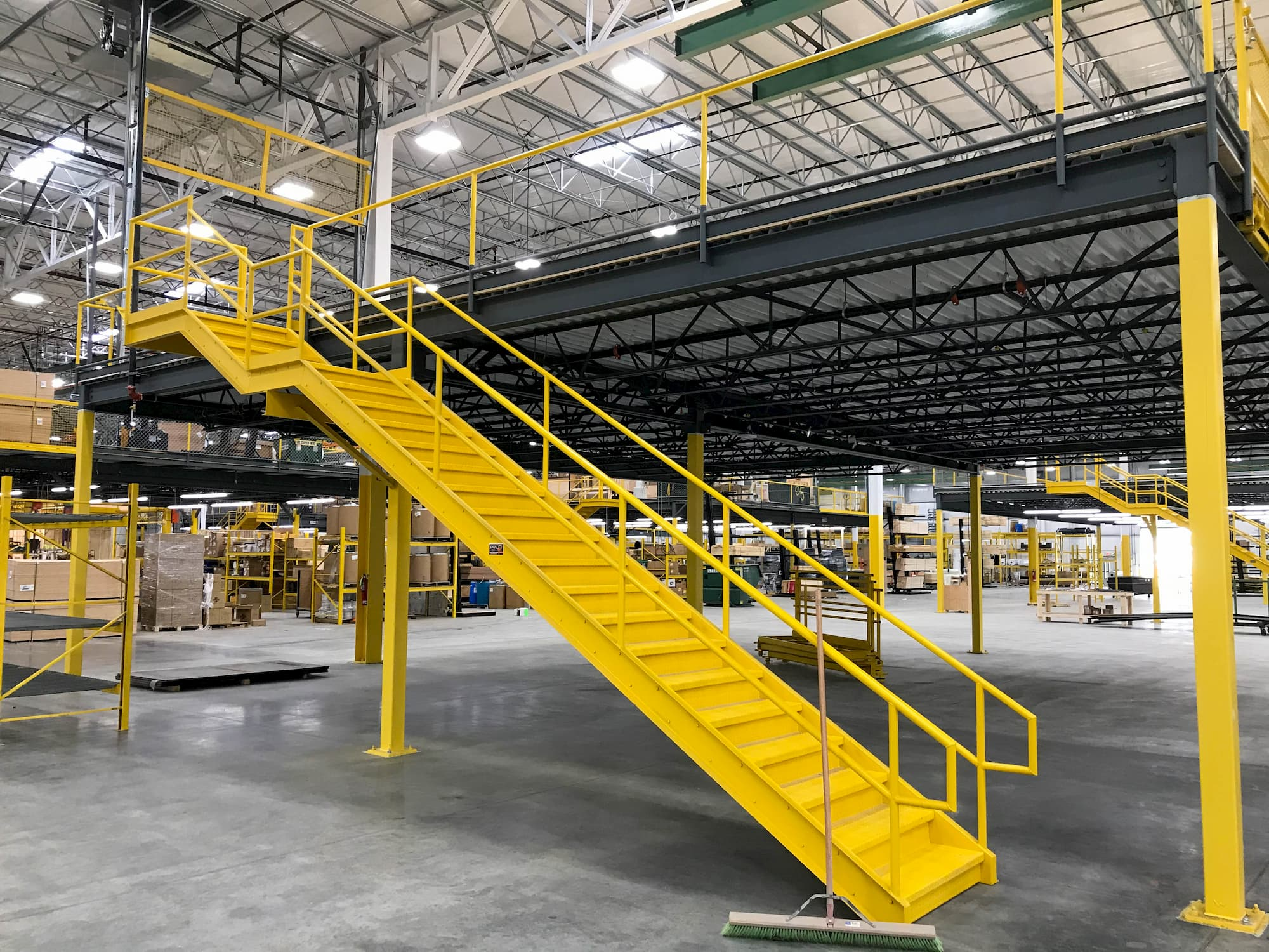 Industrial Stair with Mid Landing and Top Landing Attaching to Mezzanine